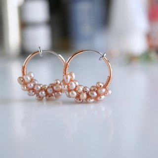 ITS-107 [Gemstone Earrings] Natural Freshwater Pearl / Hoop Earrings. Ear clip earrings.