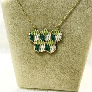 Geometric series: Little Green Cube Necklace (N1703JS)