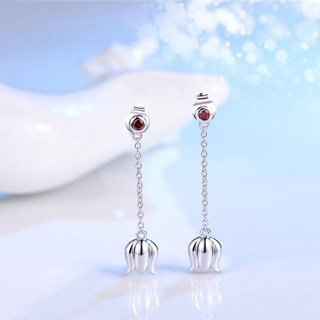 Lily Flowers Open 925 Silver Flower Earrings