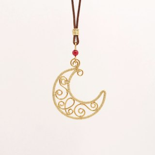 · Hand-made pendant · golden moon long necklace [large] limited hand gold chain can be adjusted long