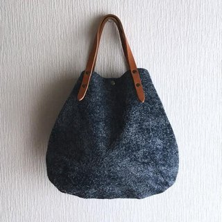 Round tote bag of genuine leather Angola velor and extremely thick oil nude S-size 【Navy】