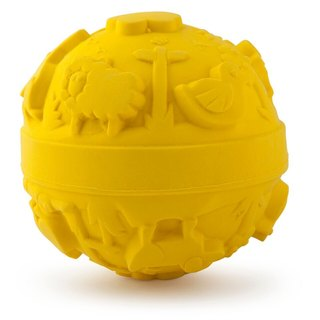 Spain Oli & Carol - Tactile Ball - Yellow - Natural Nontoxic Rubber Gumming Gear / Bath Toys / Green Toys