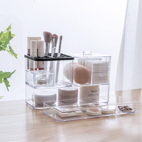Simple and transparent cosmetic storage box dressing table desktop plastic cotton brush lipstick jewelry one finishing box