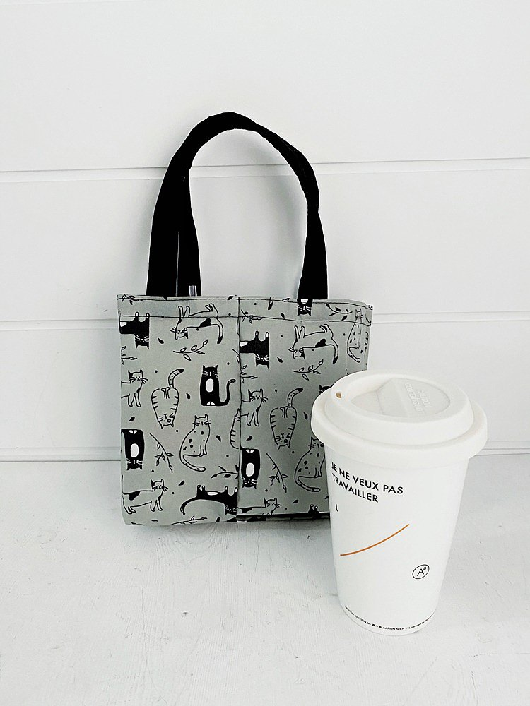 hairmo eco-friendly 2way double enjoy cup beverage bag-black and white cat