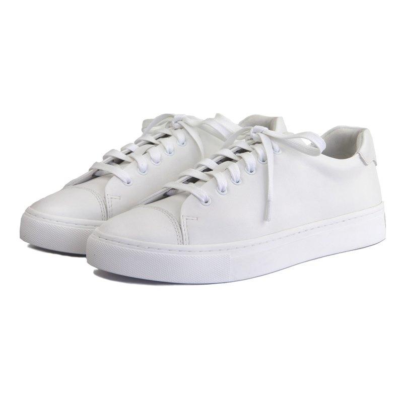 Sweet Villians W1072 手工真皮素面男女休閒運動鞋 白色