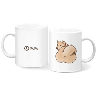 Shiba Inu - Ass - Original Illustration - Mug - Gift Custom - Flies Planet - Handmade Market