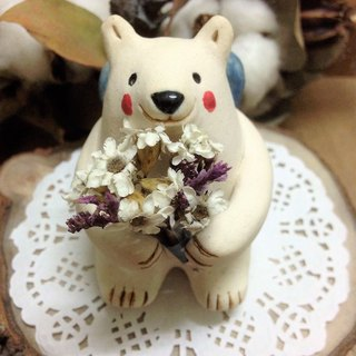 Hand painted small universe - hug white bear