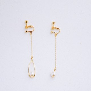 雫 - ear clip - basket empty water drop crystal pearl asymmetrical earrings