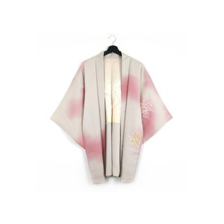 Back to Green-Japan with back feather woven halo gold and silver hand-painted / vintage kimono