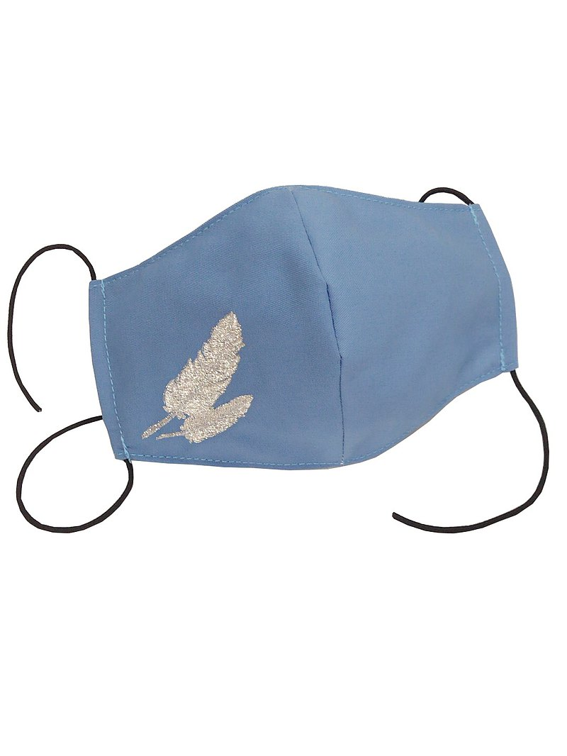 Sky blue adult curved three-dimensional cloth mask cover / inner and outer TC cloth (feather embroidery lightweight)