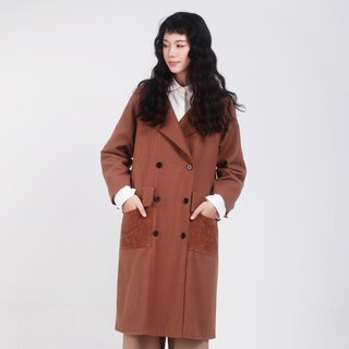 kitann ino original new autumn and winter women's caramel wool profile coat commuter coat