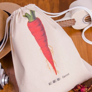 Striped Drawstring Backpack - 紅蘿蔔 Carrot