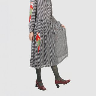 [Egg Plant Vintage] Parrot Lady Printed Vintage Dress