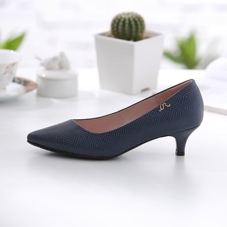 Athena - Self-confident Deep Blue - Snake-patterned leather low-heeled shoes
