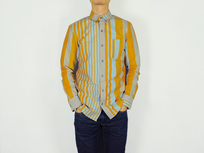 jainjain Jane Save Handmade / wayward experiment handprint shirt # 4 (blue yellow stripe)
