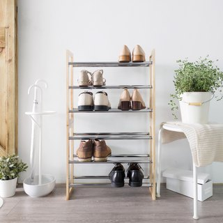 LIGFE 3-Tier Free Stand Natural Stackable Shoe Rack