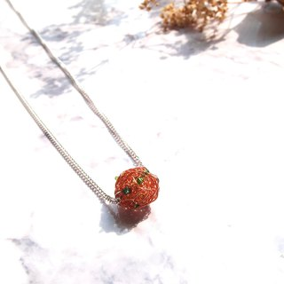 French hand-made rose gold copper wire ball with emerald green beads lucky pendant even metal necklace (round Miao series)