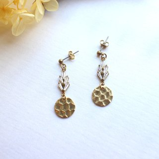 Pineapple queen -Brass zirconhandmade earrings