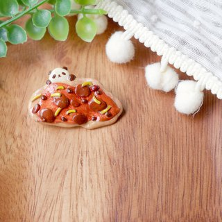 Cute panda food brooch handmade