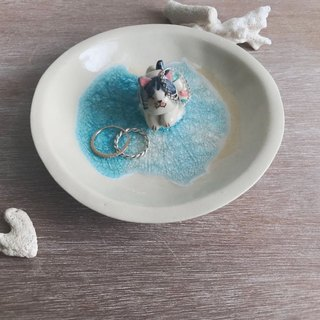Swimming Cat- Handmake Ceramic and glass Jewellery plate