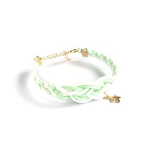 Handmade Braided Sailor Knot Bracelets Rose Gold Series- light green