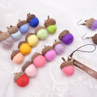 WANYI pine cone color wool felt acorn fruit earrings hanging dry flowers / wedding small things