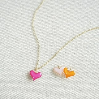 pastel mini heart pendant&necklace <pink, baby pink, orange>