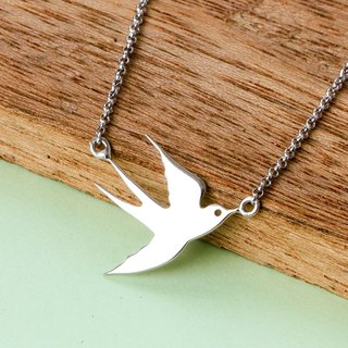 Baby Sparrow Necklace in 925 Sterling Silver with White Gold plating