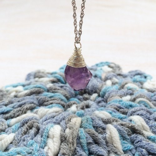 Temperament amethyst necklace 925 silver irregular pendant models Miss Flora | 【Violet Series】