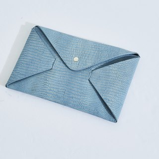 Leather structure envelope clutch bag blue