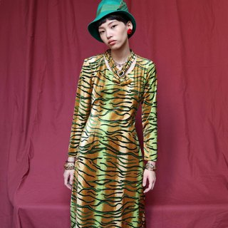 Pumpkin Vintage. Ancient ornate diamond tiger suede dress