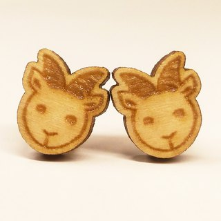 [Lamb] Plain Colored Wooden Earrings