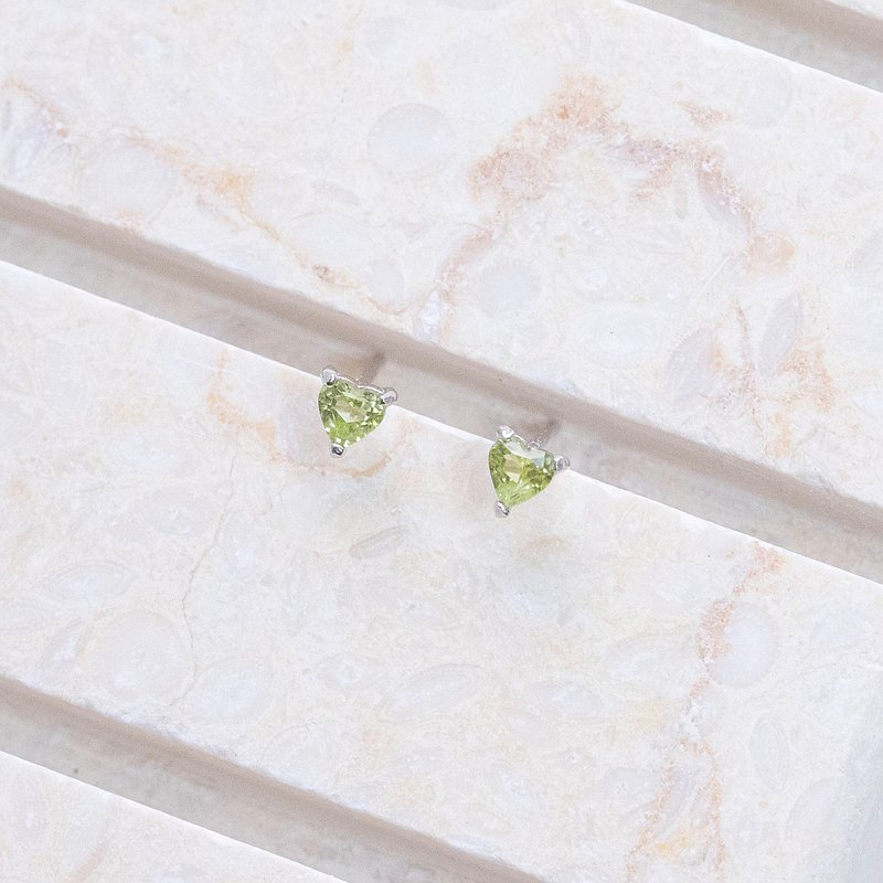 Peridot 925 Sterling Silver Heart-shaped Gem Prong Set Earrings