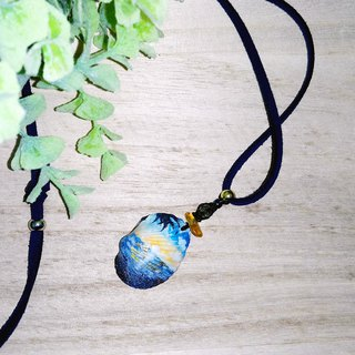 Hand painted sunset shell charm faux suede long necklace