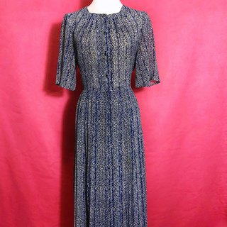 Royal blue blade short-sleeved vintage dress / brought back to VINTAGE abroad