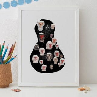 BATHING MONKEYS PRINT
