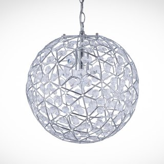 BNL00069- circular chrome frame transparent pressure kriging bead chandelier
