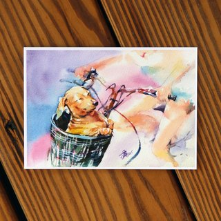 Watercolor painted hair boy series postcard - riding in the wind