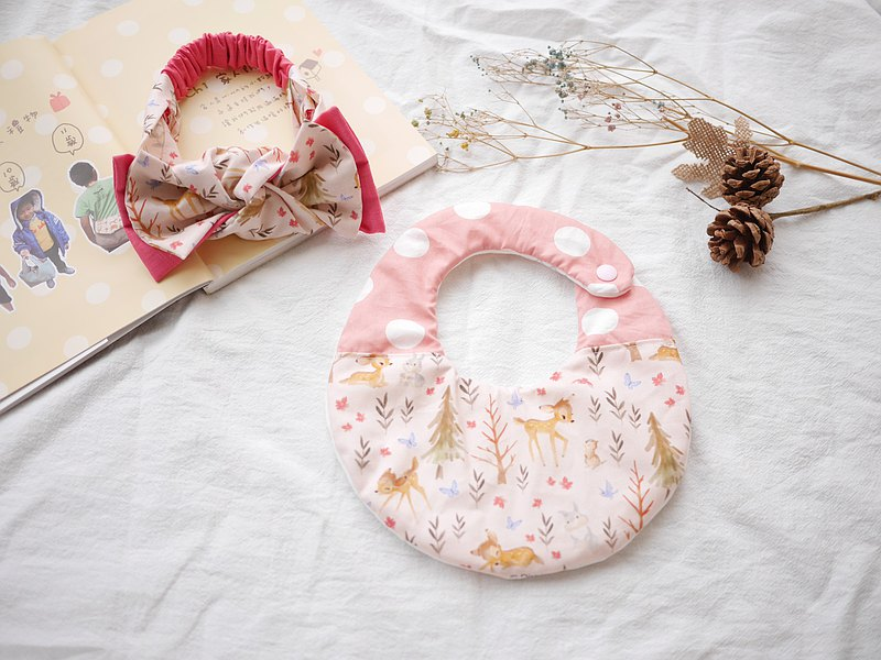 Six-fold yarn saliva towel + double-layer bow hairband Mi Moon gift box pink fawn