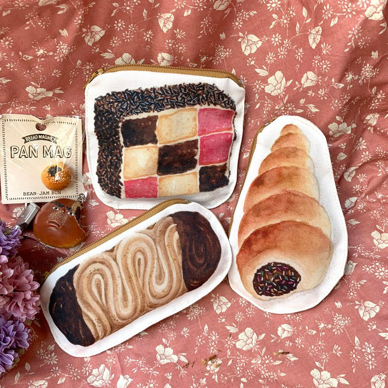 Taiwan bread style zipper bag / coin purse desktop bread Taiwanese fat