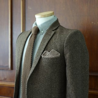 Brown Knitted Wool Tie with pocket square (no Crafted box)