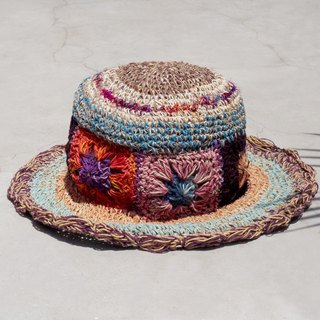 Limited to a hand-woven cotton and linen hat / weaving hat / fisherman hat / straw hat / sun hat / hook hat - bright color sorghum line tropical rain forest flower weaving