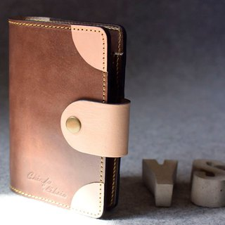 YOURS Brass Round Leather Leaflet Notebook A7 Dark Wood Leather + Color