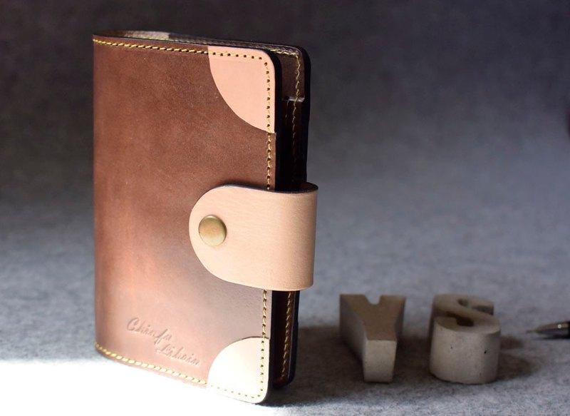 銅釦式圓角真皮活頁筆記本  深木色皮革+原色
