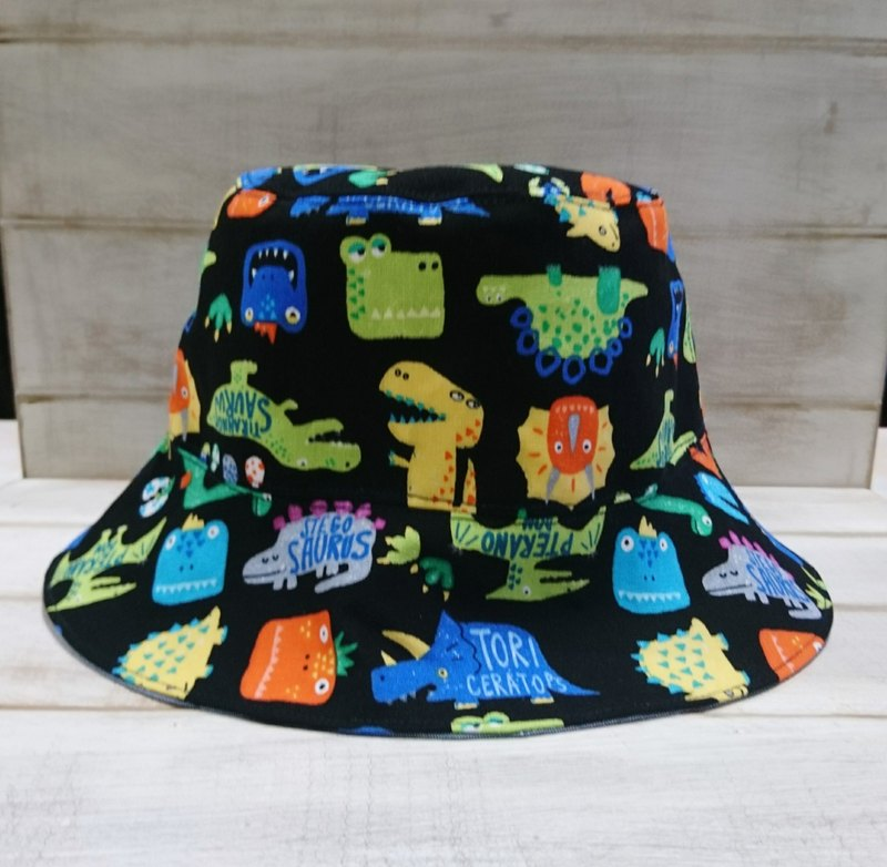 Cute dinosaur & denim blue double fisherman hat sun hat