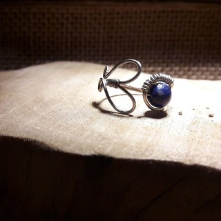 ◎ lapis lazuli ring adjustable ring love stainless steel wire