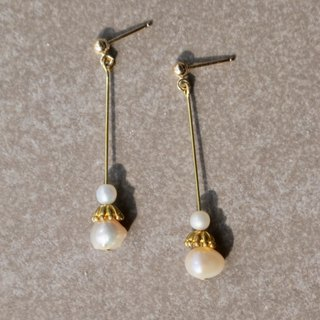 Pearl brass earrings 1137-prince