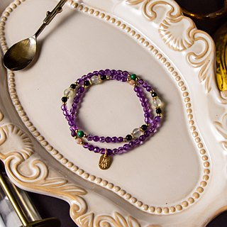 <Slow warm natural stone series>C1170 Amethyst grape stone bracelet