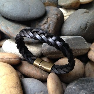 Black Weave Leather Bracelet with Brass Clasp