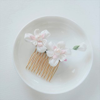 Pure White Silk Orchid Hair Comb Wedding Jewelry